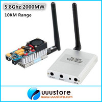 Wholesale Transmitter Receiver Combo - Wholesale-Boscam FPV 5.8G 5.8Ghz 2W 2000mW 8 Channels Wireless Audio Video AV Transmitter TS582000 and Receiver RC305 Combo