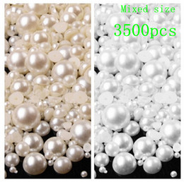 Wholesale Diy Phone Case Jewelry - Wholesale-3500pcs bag 3-8mm Pearl Cabochon Flat Back semicircle ABS Beads Jewelry Findings DIY Phone Case Free Ship B62