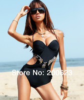 Wholesale Swimwear Steel Push Up Triangle - Wholesale-Swimwear Female Small Push Up Sexy Steel Metal Triangle One Piece Swimsuit Summer Gift BK017