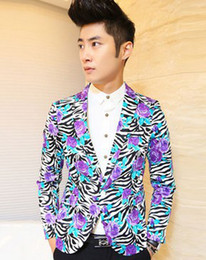 Wholesale Zebra Print Jackets - Wholesale-New 2015 Slim Suit Flower Floral Men Zebra Print Blaze Baroque Jacket Trendy Casual Party Pantalon Terno Masculine Club Outfit