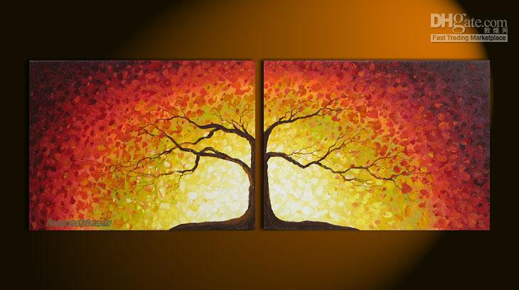 2018 Tree Of Life Large Modern Abstract Art Oil Painting Wall Deco ...