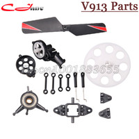 Wholesale Rc Tail Motor - Wholesale-Free shipping WL V913 spare parts Connect buckle Blade clip Main Gear Tail motor cover ... for For WLTOYS V913 RC Helicopter