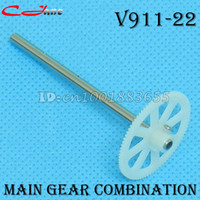 Wholesale V911 Spare Parts - Wholesale-Free shipping Wholesale WL V911 V911-1 V911-2 spare parts Main Shaft With Gear V911-22 1 lot=10 pcs for WL V911 RC Helicopter