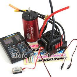 Wholesale Esc Controller - Wholesale-QuicRun-WP-8BL150 Sensorless Brushless Speed Controllers ESC+ motor kv2000 +PROGRAM CARD for 1 8 Hobbywing QuicRun