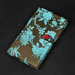Wholesale Chinese Notebooks - Fashion Luxurious hardcover Diary Notebook Favor Gifts Chinese Style Silk Fabric Printed 15pcs lot mix color Free shipping
