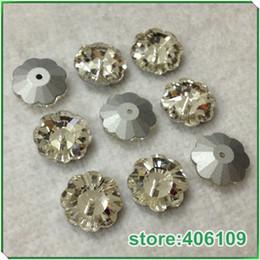 2019 nähen knöpfe perlen Großhandel-3300 Blume Kristall Nähen auf Perlen mit Loch weiße Farbe 6mm, 8mm, 12mm, 14mm, 16mm, 10mm Chaton Perlen Kristall flache Knöpfe