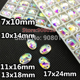 Wholesale Oval Beads 13x18mm - Wholesale-Crystal Clear AB Color Oval Sew On Crystal Stones 7x10mm 10x14mm 11x16mm 13x18mm 17x24mm Sewing Glass Beads