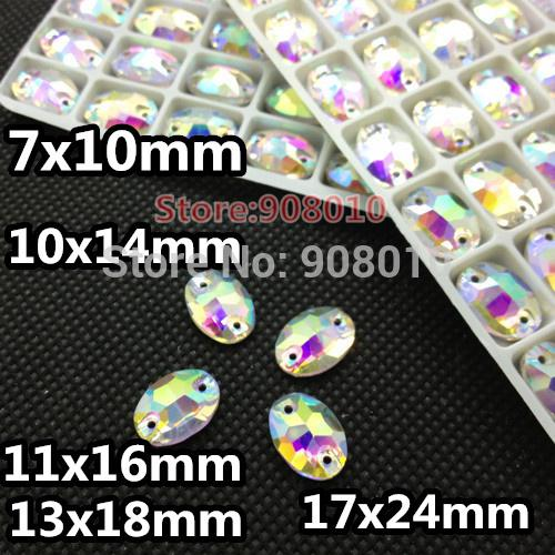 Wholesale-Crystal Clear AB Color Oval Sew On Crystal Stones 7x10mm 10x14mm 11x16mm 13x18mm 17x24mm Sewing Glass Beads