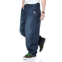 Wholesale Baggy Jeans Fashion Men - Wholesale-2015 New Mens Fashion Hiphop Pants Hip Hop Skateboard Jeans Stylish Loose Embroided Baggy Denim Trousers Plus Size 30-46, FA101