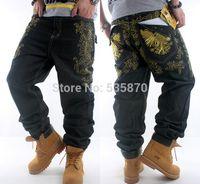 neue jeans material großhandel-Großhandels-neue 2015 NWT Männer Jeans baggy Hip-Hop-Rap-cooles schwarzes Material loses gesticktes Denimstraßen-Rochen Tanzen schlaff Größe