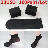 Wholesale Old Socks - Wholesale-200PCS=100Pairs Lot Man Spring Summer Bamboo fiber material Socks 5color slim socks Prevent Slip Prevent Sweating For 10-60 old