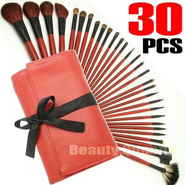 Set di spazzole per trucco cosmetico da 30 pezzi Set di alta qualità CAPELLI CAPELLI Borsa in pelle rossa Borsa NUOVO + SPEDIZIONE GRATUITA