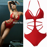 Wholesale Sexy Cut Out Swimsuits - Wholesale-2015 Hot red sexy strappy one piece swimsuit bandage monokini cut out swimwear women bathing suit biquini maillot de bain V149