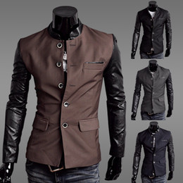 $enCountryForm.capitalKeyWord Canada - Wholesale-men blazers PU sleeves slim fit blazer for men blazer mens leisure suits for men patchwork PU leather jackets jacket JK15