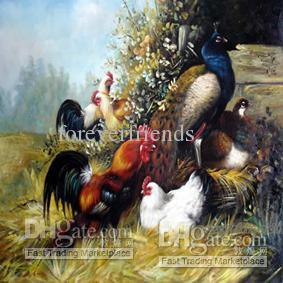 Петух и Цыпленок 100% ручная роспись высокого качества маслом на холсте 364