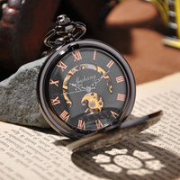 Wholesale-High-quality 2015 New Luxury Men Fashion Steampunk Relógios de bolso Vintage Antique Skeleton Mechanical Pocket Watch