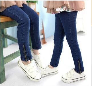 Wholesale-Boys jeans in cotton pants, pencil pants girls oblique zipper kids jeans