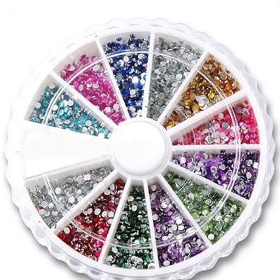 10 takım 12 Renk Nail Art İpuçları Yuvarlak Şekil 2mm Rhinestones Glitters Tekerlek