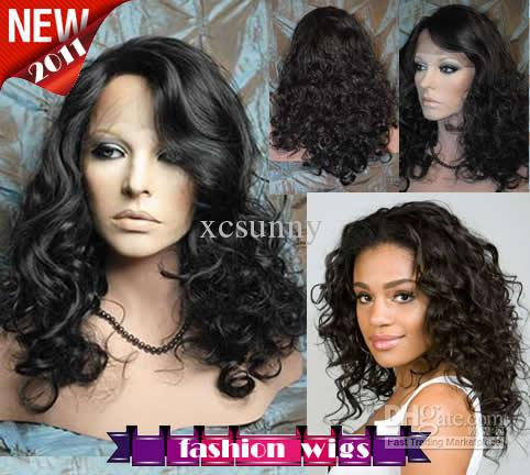 """New Celebrity Hairstyle 14""""-26"""" Body Curl #1B Heat Friendly Synthetic Lace Front Wigs CHS081"""