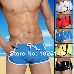Discount mens black trunks - Wholesale-mens dive wear Swimwear Beach Sports Beachwear swimming Suits bathing Pure color classical male swim Trunks Ma