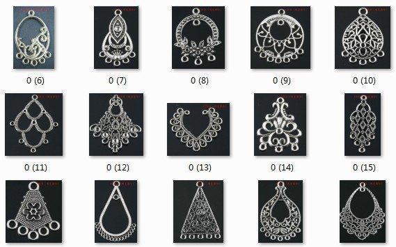 Atacado-OMH atacado jóias 100pcs prata tibetana pingentes misturados brinco Brincos Drop - (cerca de 50 tipos de)