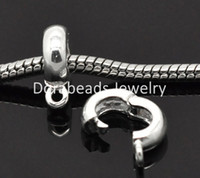 Wholesale Charm Clip Lock - Wholesale-Free Shipping! Silver Plated Clip & Lock Bail Beads Fit European Charm 13x10mm, 10Pcs (B15399)