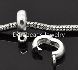 Wholesale European Bail Beads - Wholesale-Free Shipping! Silver Plated Clip & Lock Bail Beads Fit European Charm 13x10mm, 10Pcs (B15399)