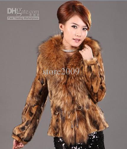 2017 2011 New Raccoon Fur Collar Mink Coat Mink Fur Coat Camel ...
