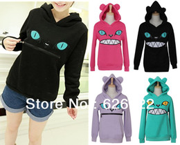 Wholesale purple cat ears - Wholesale-2015 New Colored Zipper Smile Mouth Cat 3D Ear Hoodie Cat Front Jumper Sweater Long Sleeve Fleece SweartShirt Tops Free shipping