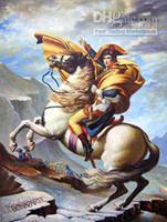 arte caballos pintura al óleo al por mayor-NAPOLEÓN BONAPARTE EN EL CABALLO BLANCO, pintura al óleo pintada a mano pura del arte del retrato en Canva de la alta calidad