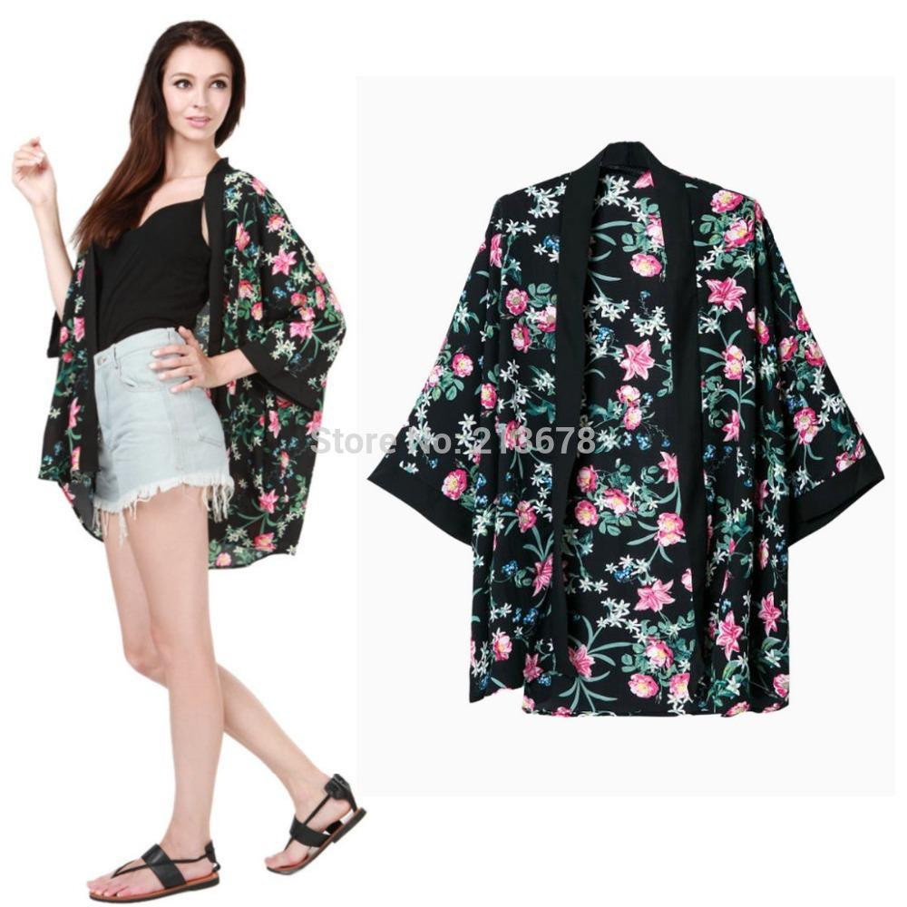 2018 Wholesale Vintage Women Black Floral Kimono Cardigan Jacket ...