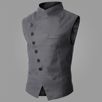 Wholesale Tight Fashion Vests - Wholesale-2015 new fashion men steampunk slim vest stand collar Helical single breasted ball vest solid color tight fit leisure menwear