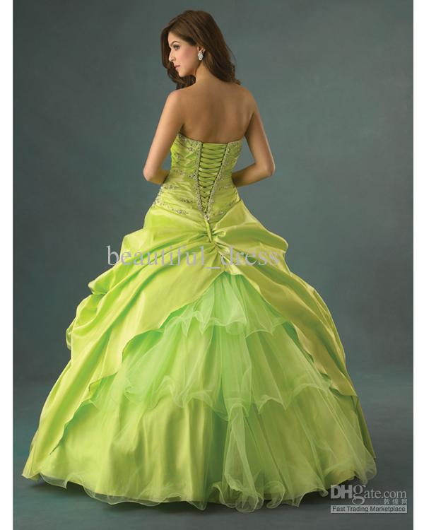 Green Strapless Beaded Prom Dresses Bridal Gown Ball Gown Deb Party ...