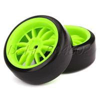 Wholesale Green Wheel Rims amp Smooth Tires RC On Road Racing Drift Car Pack of
