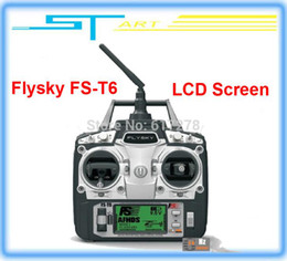 Wholesale Helicopter Lcd - Wholesale-2015 Free shipping Flysky FS-T6 FS T6 6ch 2.4g with LCD Screen Transmitter with FS R6B Receiver For RC Helicopter AirPl girl toy