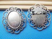 Wholesale Antique Bronze Oval Cabochon - Wholesale-10pcs Antique Silver Bronze Handmade Oval Lace Border Brooch Pin Breast Pin,Base Setting Tray Bezel,Fit 18mmx25mm Cabochon Cameo