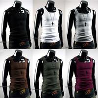 herren-sport-singlets großhandel-Großhandels-kühle Mens-Unterhemd-Trägershirt-Weste-dünne angepasste Gym Sports Sleeveless T-Shirt