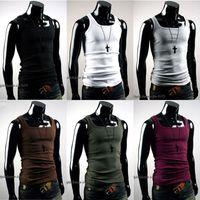erkekler spor singletleri toptan satış-Toptan-Serin Erkek Atlet Tankı Üstleri Yelek Slim Gömme Spor Spor Kolsuz T Gömlek