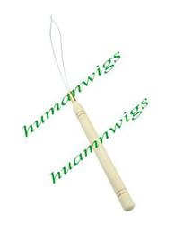 Wholesale Hair Extension Threader - 100PCS Bamboo   Wooden Handle Threader   Micro Rings   Loop Hair Extension Tools !