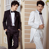 Wholesale Suiting Coats For Men White - Wholesale-Dinner will be black and white tuxedo wedding groom tuxedo Men mens wedding tail coat suits tuxedo man tuxedo for men