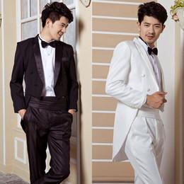 Wholesale Dinner Suits For Men - Wholesale-Dinner will be black and white tuxedo wedding groom tuxedo Men wedding tail coat suits tuxedo for men