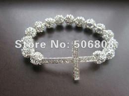 Wholesale Crystal Sideways Pave Cross - Wholesale-Charm SIDEWAYS Cross Bracelets Silver Tone Rhinestone Crystal Disco Pave Balls With Crystal Cross Stretch Bracelets 10PCS LOT