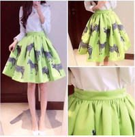 Wholesale Neon Green Ball Gown - Wholesale-Free Shipping fashion women's zebra animal print neon green knee length ball gown pleated skirt plus size S M L