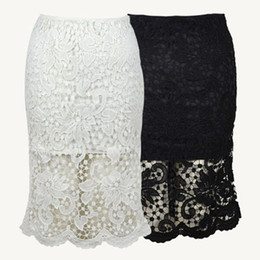Wholesale American Apparel High Waisted - Wholesale-Hollow Out Lace Pencil Skirt Bodycon High Waisted Skirts Womens Embroidery Skort Saia floral Short Mini Skorts American Apparel