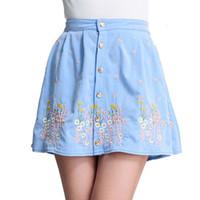 Wholesale Denim Floral - Wholesale-Saias Femininas 2015 Summer Fashion Floral Embroidery Saia Jeans Above Knee Mini A-Line Blue Denim Skirts Female Short Saia XXXL