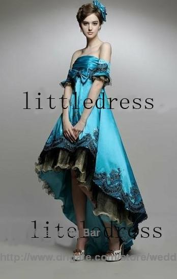 Blue Strapless No Train Tea Length Hi Lo Satin Beads Pregnant ...