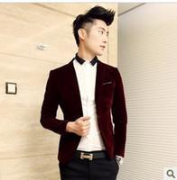 Wholesale Casual Male Blazers - Wholesale-Fashion casual blazer velvet men clothing suit fashion slim Wine red male civies men blazer blaser jackets