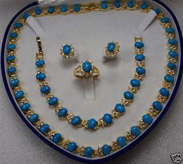 Wholesale Cheap Blue Engagement Rings - Wholesale cheap Charming 14KT Turquoise necklace bracelet ring earrings Gemstone Jewelry Sets