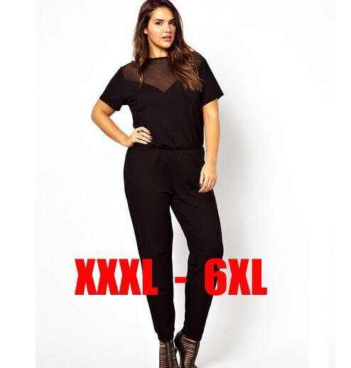 41df890211b 2019 Wholesale 6XL Plus Size Women Jumpsuit Romper Net Patchwork Clothes  Large Big Size Womens Loose Casual Short Sleeve Curve Rompers 3Xl 4Xl From  ...