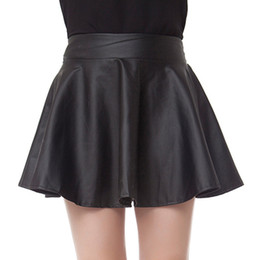Wholesale Basic Short Skirt Bust - Wholesale-2015 spring PU small leather skirt bust skirt pleated skirt a-line skirt black basic puff short skirt plus size clothing